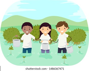 Illustration of Stickman Teens Wearing White Shirts and Planting Mangroves