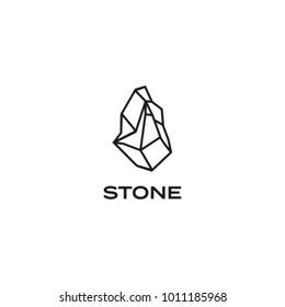 illustration of stone logo with monoline style, vector illustration