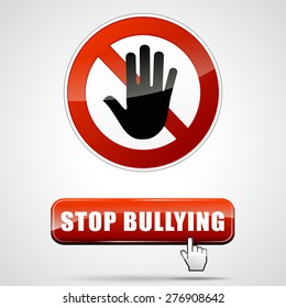 illustration of stop bullying sign with web button