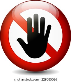 illustration of stop with hand round sign on white background