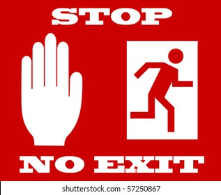 illustration of stop signal, no exit