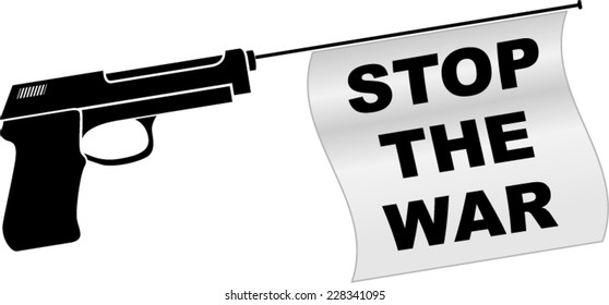 illustration of stop the war with gun concept
