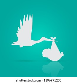 Illustration of a stork and baby on a colorful background.