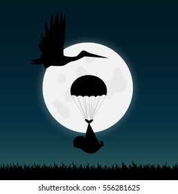 Illustration of a stork and a baby silhouette against a night sky background.
