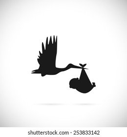 Illustration of a stork carrying a baby isolated on a white background.
