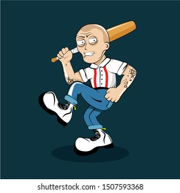 Illustration of a street hulligan, skinhead, representative of subcultures