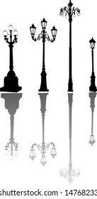 illustration with street lamps and its reflections collection