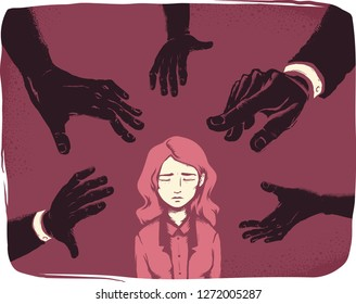 Illustration of a Stressed Girl with Dark Male Hands Reaching Out to Her. Office Sexual Harassment