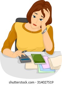 Illustration of a Stressed Out Girl Using a Calculator to Count Her Expenses