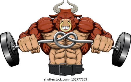 Illustration: a strong angry bull with a barbell