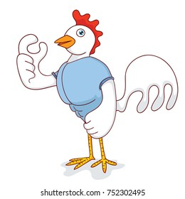 illustration of a strong chicken