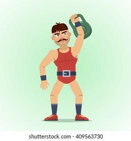 Illustration of a strong man lifting kettlebell