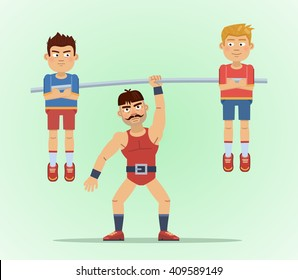 Illustration of a strong man lifting two men