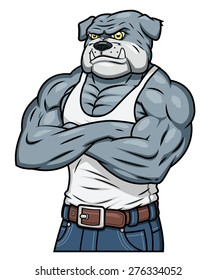 Illustration of the strong muscle aggressive bulldog standing