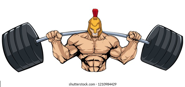 Illustration of strong Spartan warrior doing squats with a barbell on white background.