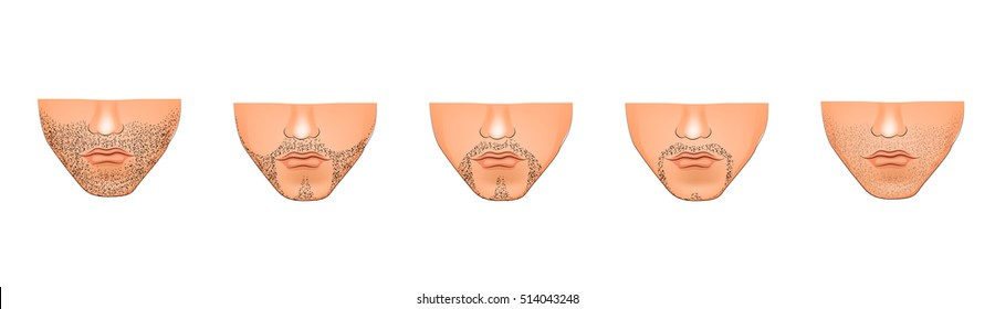 illustration of stubble on his chin. Male