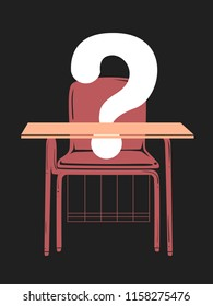 Illustration of a Student Armchair with a Question Mark . Absent Student in Class