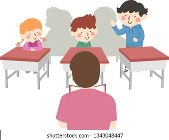 Illustration of Student Kids in Class with One Kid Standing Up and Introducing Himself