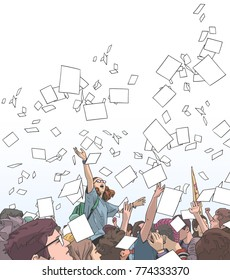 Illustration of students celebrating victory, graduation, freedom with sheets of paper thrown in the air in color