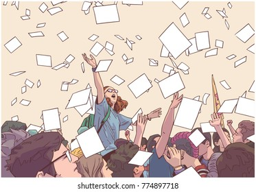 Illustration of students celebrating victory, graduation, freedom with sheets of paper thrown in the air in vintage colors
