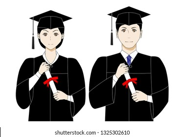 Illustration of students at graduation ceremony. Young man and woman wear black gowns and mortarboards and hold diplomas.