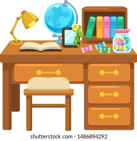 Illustration of study desk and chair
