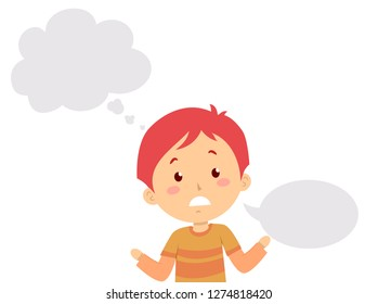 Illustration of a Stuttering Kid Boy with a Blank Thinking Cloud and Speech Bubble