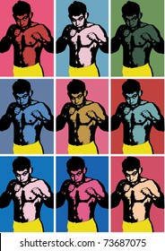 Illustration in style Andy Warhol. The boxer in a pose.