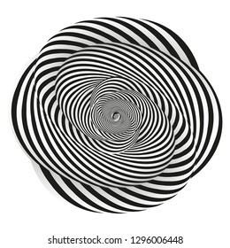 Illustration of the style of Escher. Hypnotic circle for psychology or philosophy.