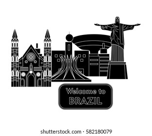 illustration in style of flat design dedicated to Brazil.