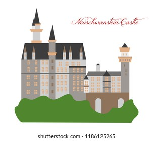 illustration in the style of a flat design on the theme of the neuschwanstein castle.