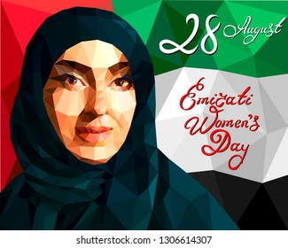 Illustration in the style of a low polygon dedicated to the Emirati Women's Day, August 28th. Portrait of an Arab woman wearing a hijab. Background - colors of the flag of the Emirates.