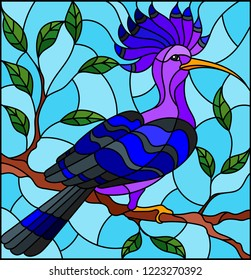 Illustration in the style of stained glass with a beautiful blue bird  on a  background of branch of tree and sky