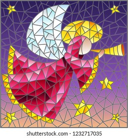 Illustration in the style of a stained glass window abstract angel in pink robe with a pipe in hands on a background of sky and stars