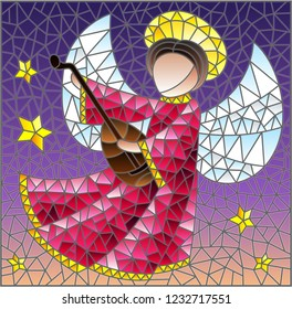 Illustration in the style of a stained glass window abstract angel in pink robe, with lute in hand on a background of sky and stars