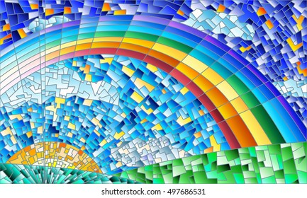 Illustration in the style of a stained glass window with an abstract landscape, field, sun, sky and rainbow
