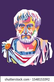Illustration style,isolated style,wpap style of Aristotle