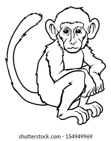 An illustration of a stylised monkey perhaps a monkey tattoo