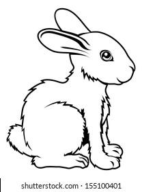 An illustration of a stylised rabbit perhaps a rabbit tattoo