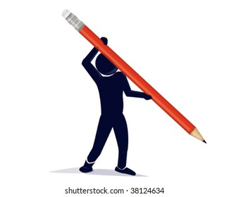 an illustration of a stylized character with a red pencil