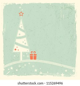 Illustration of a stylized Christmas tree with present on top of wavy lines with stars on pale green textured grunge background. Space for your text.