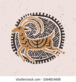 Illustration with a stylized gazelle in the technique of linocut. Can be used as a stamp on clothing, postage stamp, postcard