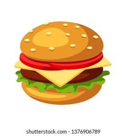Illustration of stylized hamburger or cheeseburger. Fast food meal. Isolated on white background.