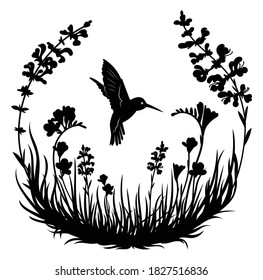 Illustration of stylized hummingbird drinking nectar from the flower. Exotic silhouette bird flying in the field grass. Decorative plants in a circle. Line art. Tattoo.