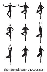 Illustration stylized men silhouettes in a yoga vrikshasana. From beginner to advanced