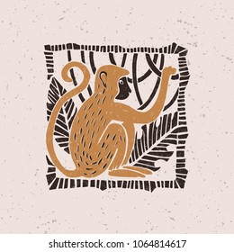 Illustration with a stylized monkey in the technique of linocut. Can be used as a stamp on clothing, postage stamp, postcard