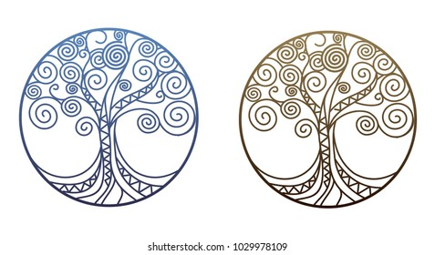 Illustration of a stylized tree in a circle