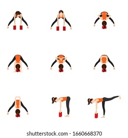 Illustration stylized woman practicing yoga postures with bricks