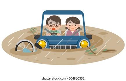Illustration of submerged car