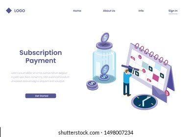 illustration of subscription payment for managing time, schedule, and saving money in isometric illustration style